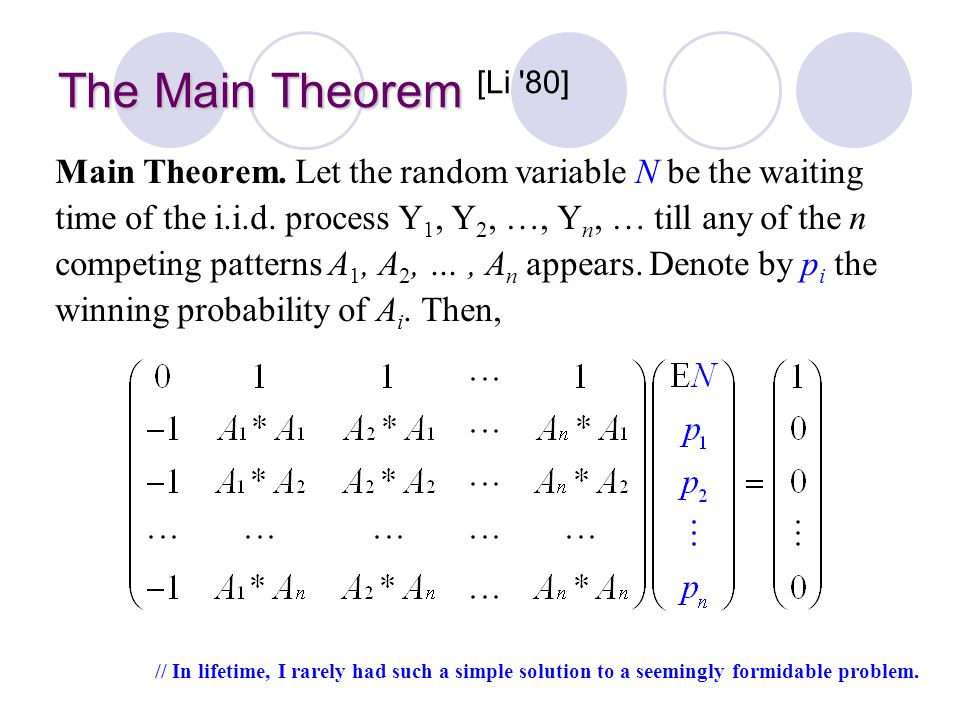 The Main Theorem [Li 80]
